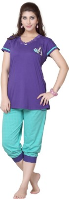 Sweet Night Women's Printed Multicolor Top & Capri Set
