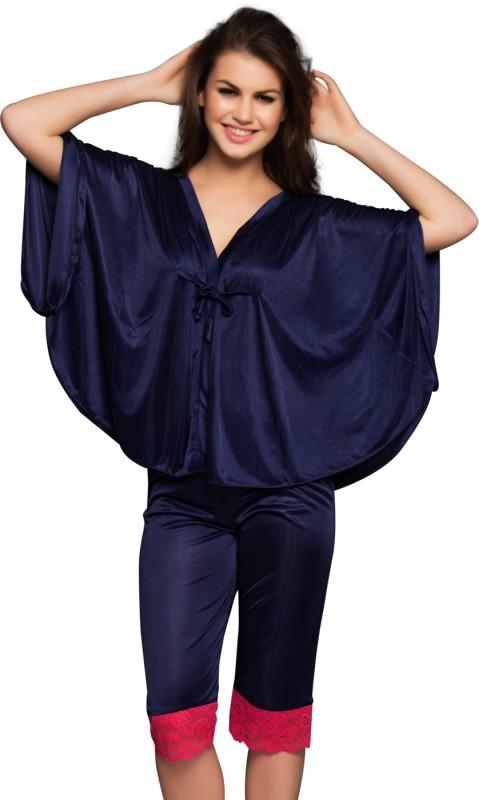 Clovia Navy Cami with Lace Women's Solid Blue Top & Capri Set