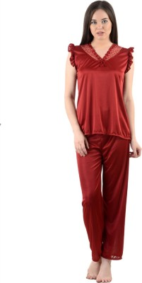 American-Elm Women's Self Design Maroon Top & Pyjama Set