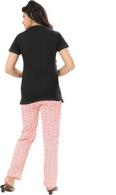Div Women's Printed Black Top & Pyjama Set