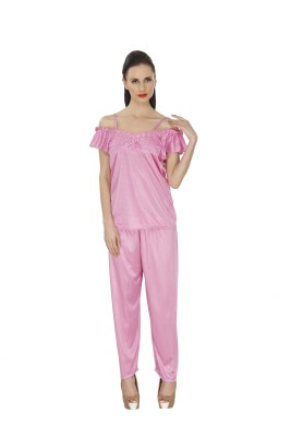 Ignis Women's Solid Pink Top & Pyjama Set