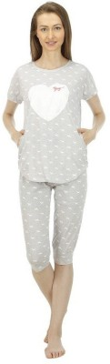 Icable Women's Printed Grey Top & Capri Set