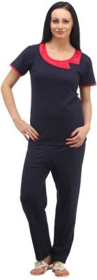 Klamotten Women's Solid Dark Blue Top & Pyjama Set