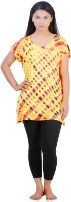 July Cotton Two Piece Women's Printed Yellow, Black Top & Capri Set