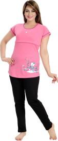 AV2 Women's Printed Pink Top & Pyjama Set