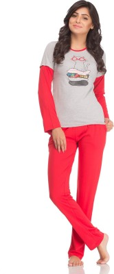 Private Lives Women's Solid Grey Top & Pyjama Set