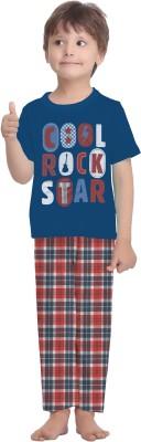 La Dreamz Boy's Printed Dark Blue Top & Pyjama Set