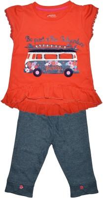 Pepito Baby Girl's Embellished Orange Top & Pyjama Set