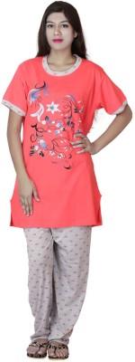 Star Gallery Women's Floral Print Pink Top & Pyjama Set