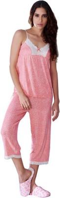 Penny by Zivame Women,s Polka Print Pink Top & Capri Set