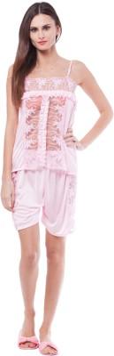 Se Deplace Women's Solid Pink Top & Shorts Set