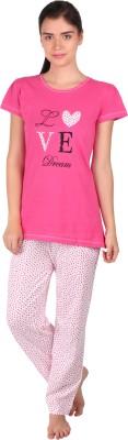 Lazy Dazy Women's Applique, Printed Pink, White Top & Pyjama Set