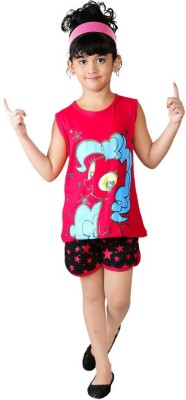 Bella & Brat Girl's Printed Pink, Black Top & Shorts Set