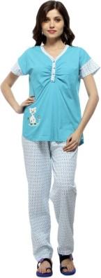 American Cult Women's Solid Blue Top & Pyjama Set
