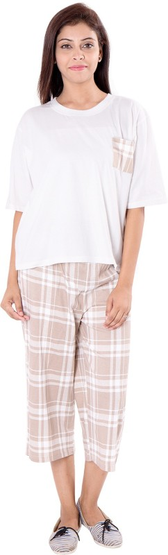 9teen Again Women's Checkered Multicolor Top & Pyjama Set