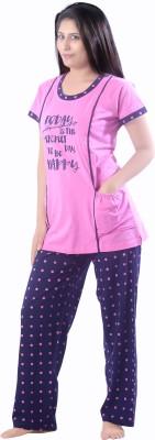 O Baby Feeding Women's Solid Multicolor, Multicolor Top & Pyjama Set