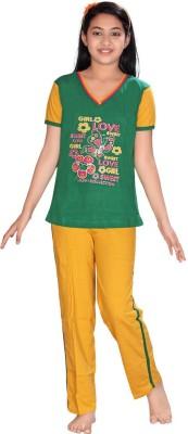 ABHIRA Girl's Printed Green, Yellow Top & Pyjama Set
