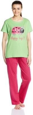 July Comfy Cotton Designer Two Piece Women's Printed Green, Pink Top & Pyjama Set