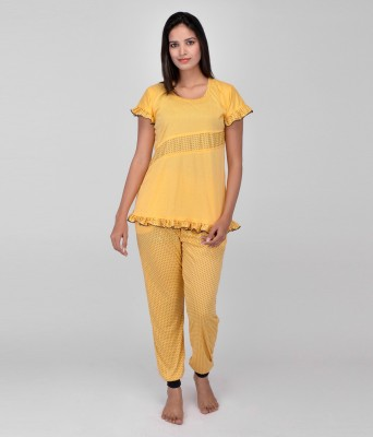 World Of Fashion Women's Solid Yellow Top & Pyjama Set