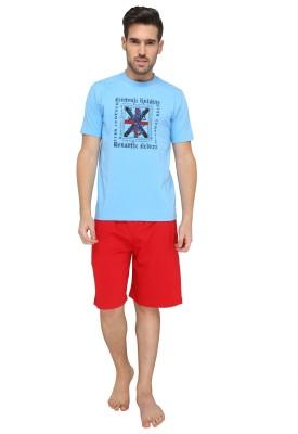 Valentine Men's Printed Light Blue Top & Shorts Set