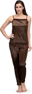 Being Fab Women,s Solid Brown Top & Pyjama Set