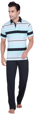 TATWAM Men's Striped Light Blue Top & Pyjama Set