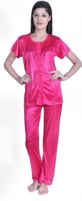 Claura Women's Solid Pink Top & Pyjama Set
