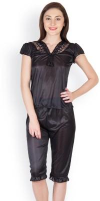 Oleva Women's Self Design Black Top & Capri Set