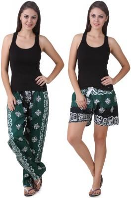 Masha Women's Printed Green Top, Pyjama & Capri Set