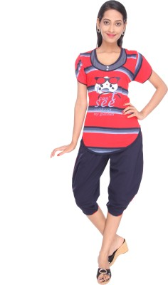 Spicy India Nightsuit Women's Printed Red Top, Pyjama & Shorts Set