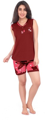 Honeydew Women's Printed Red Top & Shorts Set