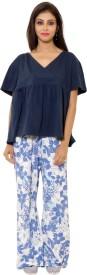 9teenAGAIN Women's Printed Blue Top & Pyjama Set
