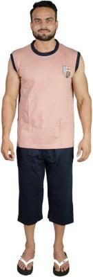 Valentine Men's Solid Multicolor Top & Capri Set