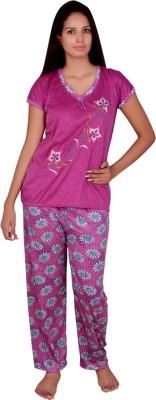 Kanika Women's Floral Print Purple Top & Pyjama Set