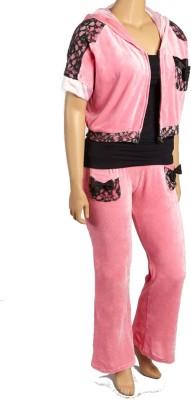 Textures Fashion Women's Embellished Pink Top & Pyjama Set