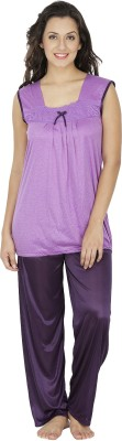 Klamotten Women's Solid Purple Top & Pyjama Set at flipkart