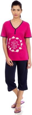 Night Fashion Women's Printed Multicolor T-shirt & Three-forth Set