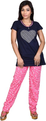 F FASHIONSTYLUS Women's Solid Dark Blue Top & Pyjama Set