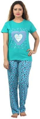 Sunwin Women's Printed Blue Top & Pyjama Set
