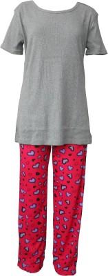 Junior Boxer Women's Solid Grey Top & Pyjama Set