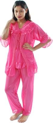 Gwyn Lingerie Women's Solid Pink Top & Pyjama Set