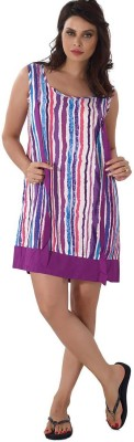 Shyle Women's Striped Purple Sleepshirt