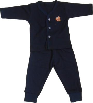 NammaBaby Baby Boy's Solid Dark Blue Top & Pyjama Set