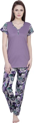Claura Women's Floral Print Purple Top & Pyjama Set
