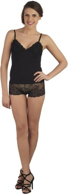 SOIE Women's Embroidered Black Top & Shorts Set
