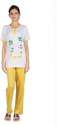 Elite Women's Printed White Top & Pyjama Set