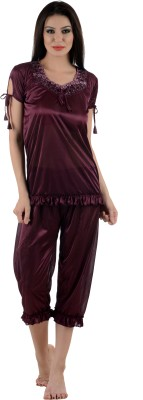 Tej Star Women's Solid Brown Top & Capri Set