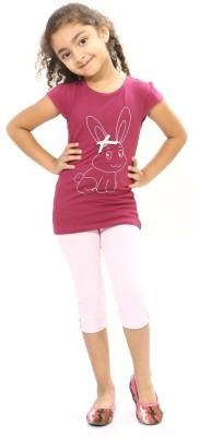 Bio Kid Girl's Printed Pink Top & Capri Set