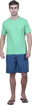 Habitude Men's Solid, Checkered Green Top & Shorts Set