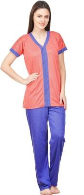 Boosah Women's Solid Blue, Pink Top & Pyjama Set at flipkart